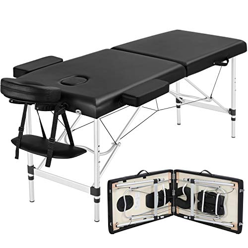 Yaheetech Portable Massage Table 84inch Massage Bed Aluminium Height Adjustable Facial Salon Tattoo Bed with Carring Case, Extra Wide, Black