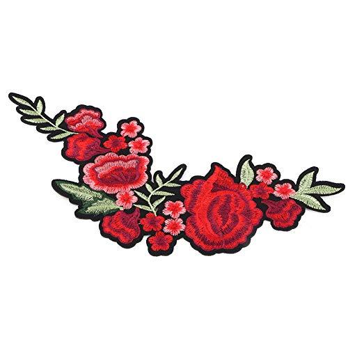 Autocollants de tissu de broderie de Rose de fleur de prunier, autocollant de couture de vêtements d'appliques brodés, autocollant de tissu de décoration de bricolage