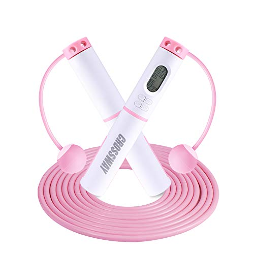 Crossway Sports Jump Rope Cordless Speed with Digital Counter Calorie Counting, Timer, Target Setting, Tangle-Free Ball Bearing Skipping Rope, Including Adjustable Cable Indoor / Outdoor Workout for Men, Women, Kids Fitness(Pink)