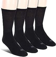 Doctor's Choice Men's Non-Binding Diabetic Circulatory Full Cushion Crew 4 Pack Black Socks, Shoe Size: 6-12.5