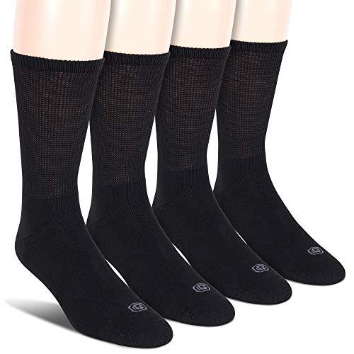 Doctor's Choice Men's Diabetic Crew Socks, Wide Non-Binding Top, Circulatory, Full Cushion, 4 Pairs, Black, Large, Sock Size: 10-13