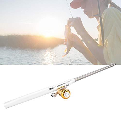 Shipenophy Pluma de Pesca telescópica Pluma de Pesca portátil Caña de Pescar Ligera Exteriores para Senderismo para Peces de Agua Dulce(Silver)