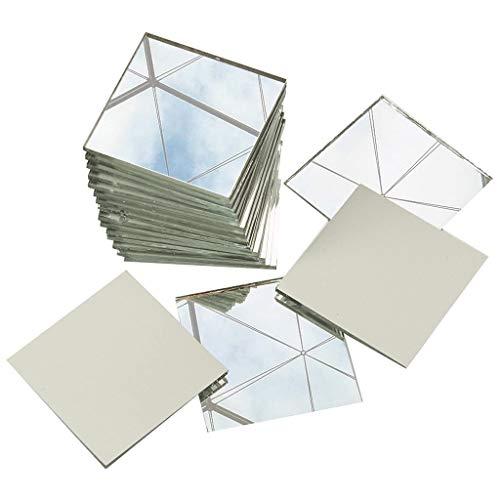 Decoración de pared 200-cuadrado del paquete Espejo Azulejos, Artes y Manualidades, 1 x 1 cm cuadrado pequeño Glass Crafts, Vidrio suavizar los bordes de primera calidad Azulejos de mosaico de espejo