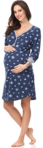 Italian Fashion IF Damen Nachthemd Comet 0111 (Dunkelblau/Weiß, M)