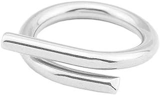 Dtja Minimalist Crossover Stainless Steel Band Rings for Women Girls Men Statement Polished Crisscross Interlaced Promise ...