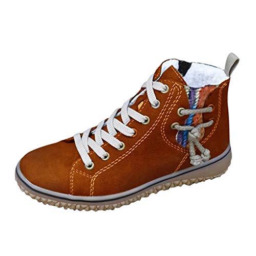 Dorical Damen Warm Schnürstiefelette,Frauen Stiefel,Boots,Halbstiefel,Schnürboots,Bootie,flach,Blockabsatz 2.9cm,35-43 EU(Kaffee,36 EU)