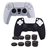 Grips for PS5 Controller Cover,Pandaren Skin for Sony DualSense Playstation 5 Texture Pattern Sweat-Proof Anti-Slip Silicone Hand Grip x 2 with 8pcs FPS Pro Thumb Stick Cap Protector(Black,White)