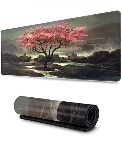 Japanese Cherry Blossom Tree Gaming Mouse Pad XL,Extended Large Mouse Mat Desk Pad, Stitched Edges Mousepad,Long Non-Slip Rubber Base Mice Pad,31.5X11.8 Inch