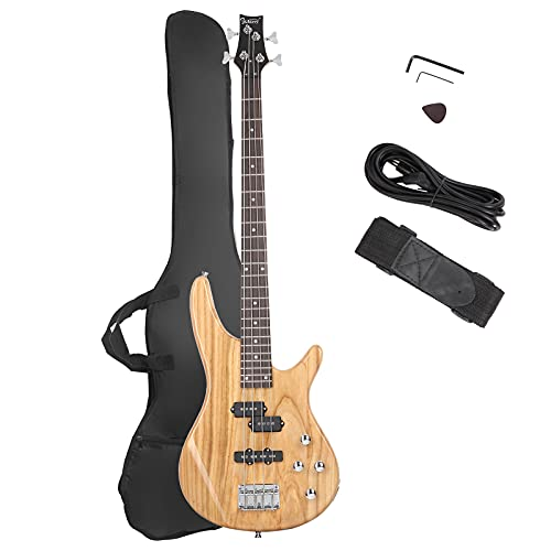 GLARRY Bass Guitar Full Size 4 String Exquisite Stylish Bass with Power Line and...