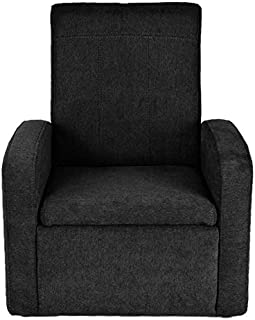 STASH Comfy Folding Kids Toddler Plush Sofa Lounge Chair with Storage Chest Ottoman cute mini upholstered armchair for little boy girl children play-room toy modern home sitting baby furniture,Black