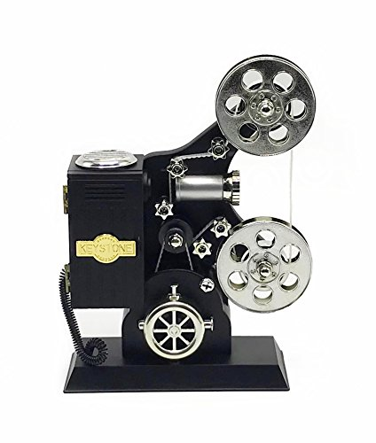 YMANX Black Film Projector Music Box