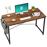 Cubiker Computer Desk 47' Home Office Writing Study Desk, Modern Simple Style Laptop Table with Storage Bag, Dark Rustic