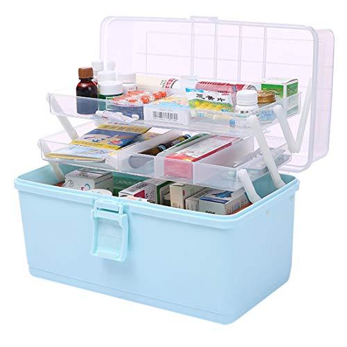 Mecotecn Medizinbox Abschließbar, 3 Etagen Faltbare Medizinbox Hausapotheke Box Medizinkoffer Aufbewahrungsbox mit Griff für Familie, Büro, Schule - Blau