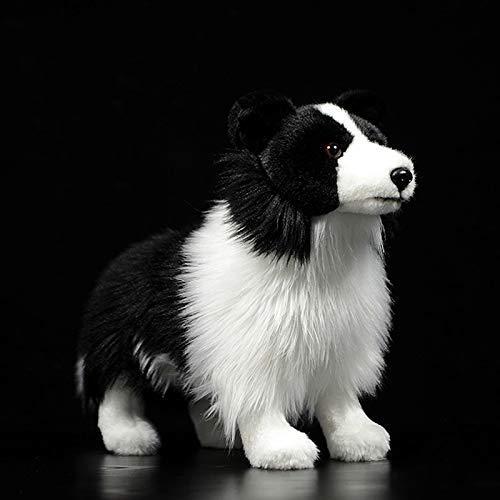 MQJ 20-25Cm Frontera Realista Collie Collie Peluche Toys Puppy Relleno Muñecas Animales Real Life Dog Peluche Juguetes para Niños,Borde,20Cm-25Cm