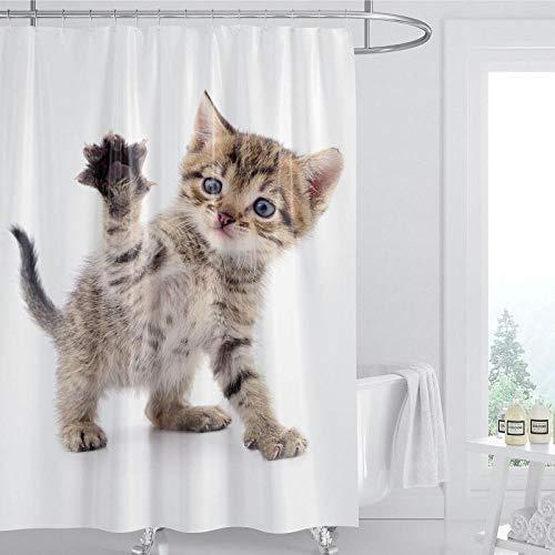 DLSM Marrone Giallo Che Fa cenno Simpatico Gatto Modello Moderno Bagno e Doccia Tenda Privacy Tenda da Doccia impermeabile-180x200 cm Tende da Bagno Decorative Impermeabile Antimuffa