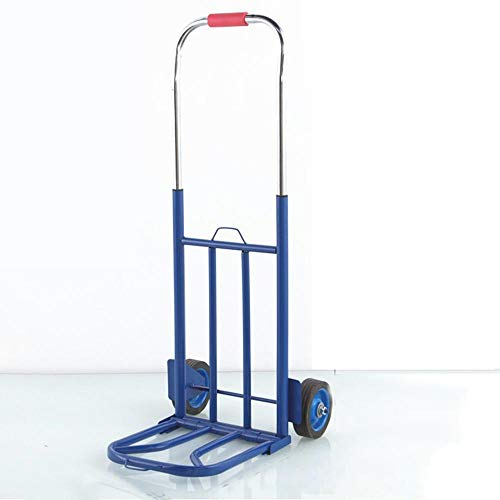 MIZE Steel Foldable Fold Up Trolley with Wheels With Anti Puncture Solid Rubber Wheel and 75 kg Capacity,Blue Trolly Bags for Stair Climbing