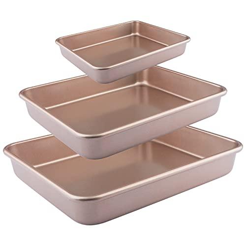 IAXSEE 3-Piece Baking Cookie Sheet Roasting Tray Set Nonstick Baking Pan Set Bakeware set