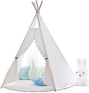 Little dove Barn tipee barn lektält med golvmatta och bärväska för inomhus utomhus, bomullsduk