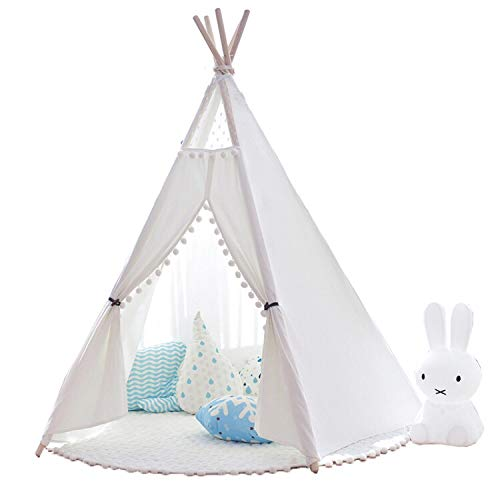 Little dove Kids Teepee Children Play Tent with Floor Mat & Carry Case for Indoor Outdoor, Cotton Canvas