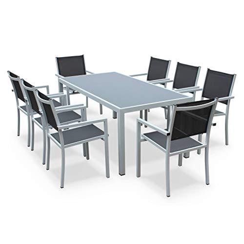 Salon de Jardin en Aluminium et textilène - Capua 180cm - Blanc, Gris - 8 Places - 1 Grande Table rectangulaire, 8 fauteuils empilables