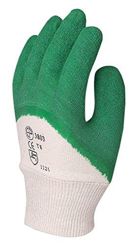 Euro Protection-Gants de travail utilisateur en coton jersey paume doigts + enduit en latex frisottis Jaune manchette elastico. Conf. 12 pa.