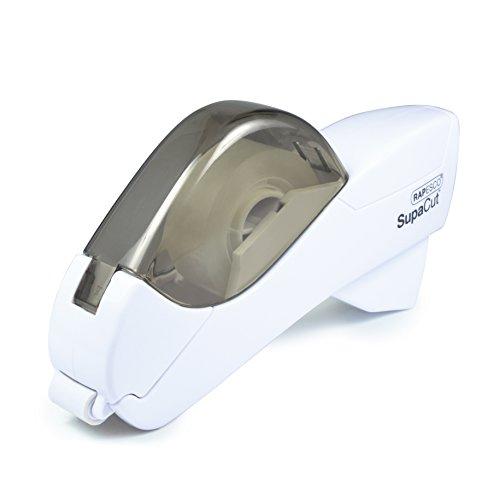Rapesco SupaCut - Dispensador de cinta adhesiva + 2 rollos, color blan