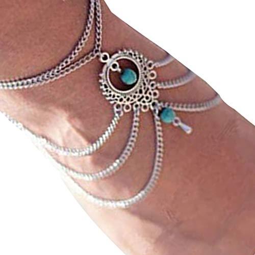 Mingtongli Joyería niñas tobillo pulsera de la vendimia de las mujeres multicapas hueco colgante para el tobillo del pie de la playa de Bohemia