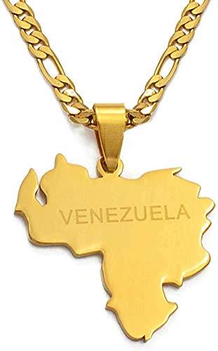 Collar Venezuela Mapa Colgantes y collares para mujeres / hombres Color dorado y joyería de acero inoxidable Regalos venezolanos
