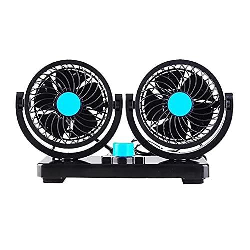 XIXI-Home Ventola da 12 V con 360 Gradi Girevole e 2 velocità, Adatta per Il Veicolo Auto Camion SUV RV ATV (Color : Black)