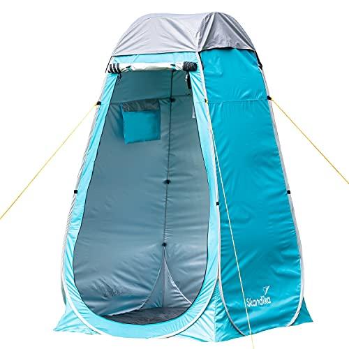 Skandika Camping Pop Up Duschzelt | Umkleidezelt mit 210 cm Stehhöhe, silberbeschichtet, Blickdicht, separater Boden, abdeckbares Fenster mit Moskitonetz, Duschbefestigung | Toilettenzelt