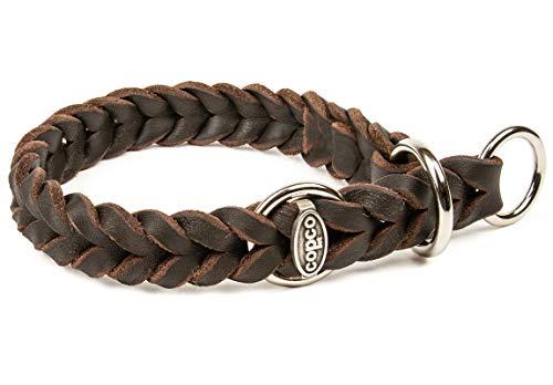 CopcoPet - Fettlederhalsband geflochten mit verchromten Zugstop-Ring, Braun 35-40 cm x 15 mm Hunde Halsband