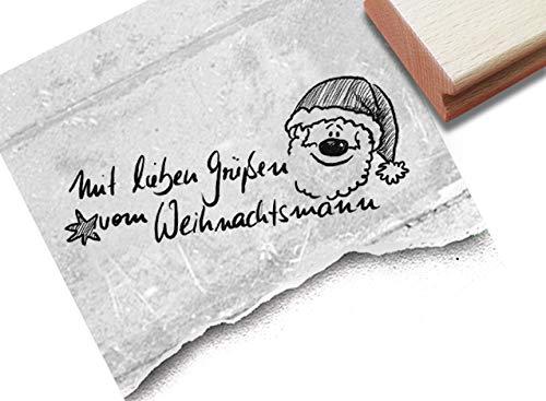 Stempel Weihnachtsstempel - Mit lieben Grüßen vom Weihnachtsmann - Textstempel Weihnachten Karten Geschenkanhänger Weihnachtsdeko - zAcheR-fineT