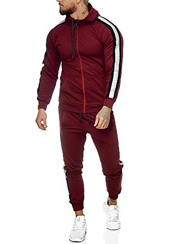OneRedox | Herren Trainingsanzug | Jogginganzug | Sportanzug | Jogging Anzug | Hoodie-Sporthose | Jogging-Anzug | Trainings-Anzug | Jogging-Hose | Modell JG-1084 Bordeaux-Schwarz S