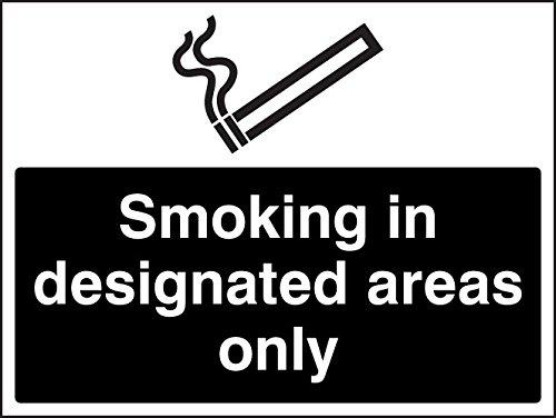 Caledonia Signs 13248K Roken In aangewezen gebieden Alleen Wit/Zwart Sign, Stijf Kunststof, K: 400 mm x 300 mm