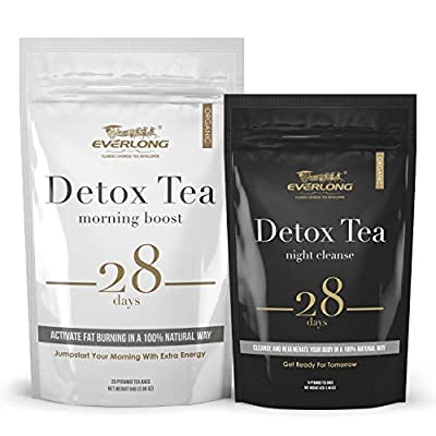 Detox Tea 28 Day Ultimate Teatox - Burn Fat and Boost Your Energy, Colon Cleanse, Activate Immune System and Accelerate Healthful Weight Loss - with Bonus Digital Welcome Guide by Everlong Tea Co