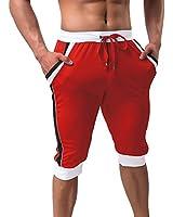 MAGCOMSEN Capri Pants for Men Joggers for Men 3/4 Pants Elastic Wsist Sweatpants for Men Slim Fit Below Knee Shorts Long Shorts Jogger Shorts for Men Red