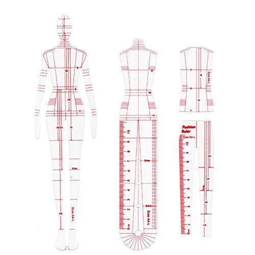WYGC Curva Francesa Dinámica Humana Regla de Costura Regla de Patchwork Hecha a Mano DIY Diseño de Ropa de Moda Herramientas Dibujadas a Mano Herramientas de Coser Reglas de Costura (Size : 4pcs)