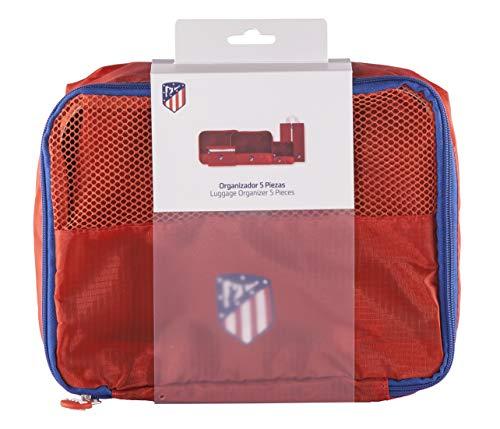 Atlético de Madrid Organizador de Equipaje - Producto Oficial del Equipo, con 5 Piezas Diferentes y Fabricado en Nylon muy Ligero para No Añadir Peso a la Maleta