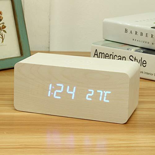 Holz-Wecker mit Qi Wireless-Charging Kompatibel mit iPhone Pad Holz LED Digital Clock Sound Control-Funktion, USB Zeit Datum Temperaturanzeige für Schlafzimmer Office,B