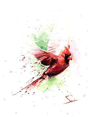 Flying Red Cardinal Watercolor Print, Cardinal Painting, Cardinal Gifts, Cardinal Artwork, Bird Print, Bird Collector Gifts