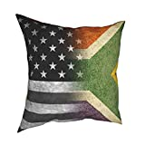 Vintage USA South Africa Flag Pillow Covers 18x18 Inches, Decor Throw Pillow Covers Modern Sofa Pillow Case for Couch Bed Car