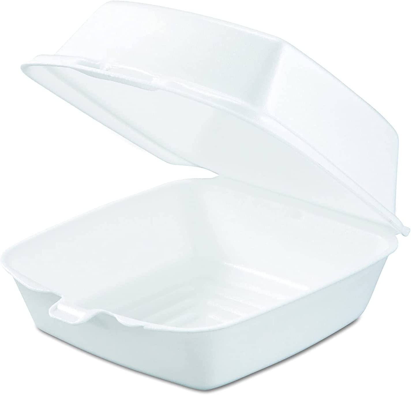 Mr Miracle 6 Inch Foam Clamshell Container for Takeout / Carryout. Pack of 50. Model MM-60HT1-50PK/A
