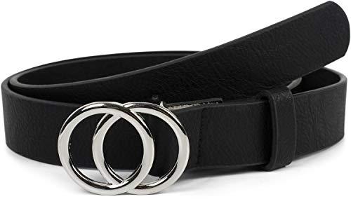 styleBREAKER Damen Gürtel Unifarben mit Ringschnalle, Hüftgürtel, Taillengürtel, Synthetikgürtel, Einfarbig 03010093, Größe:90cm, Farbe:Schwarz-Silber