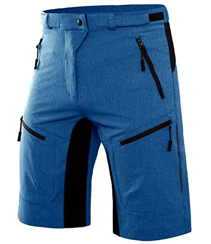 Wespornow Herren MTB Kurze Hose Schnelltrocknend-Atmungsaktiv MTB Bike Shorts-Mountainbike Hose Wasserabweisend-Fahrradhose mit Reißverschlusstaschen(Nebelblau,L)