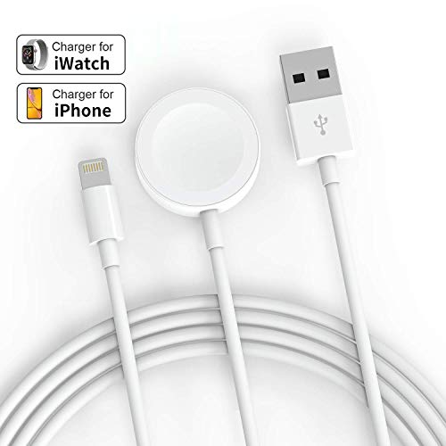 SIXNWELL Apple Watch Ladegerät, iWatch Ladekabel, Magnetisches Ladekabel auf USB, 1 Meter Charging Cable Ladestation für Wireless Ladegerät Kompatibel für Apple Watch / iwatch 5/4/3/2/1, Weiß