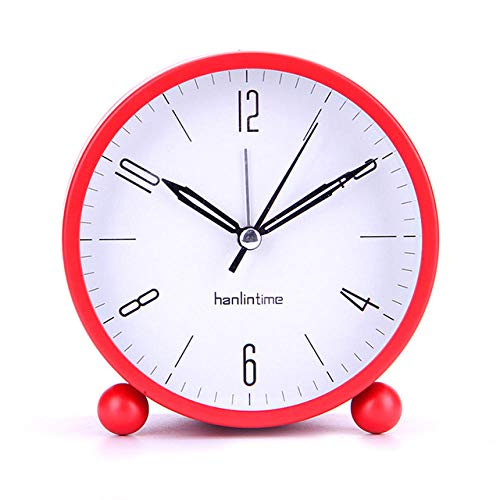 FPRW wekker met dubbele bel, 10,2 cm, ronde slaapkamer, kantoor, bureaudecoratie, draagbare wekker, retro kop, rood