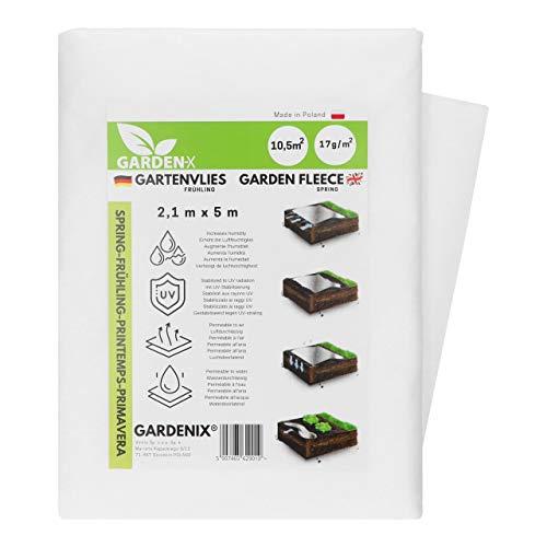 GARDENIX® 10,5 m² Frühling Gartenvlies mit Wasserdurchlässigkeit, zur Abdeckung von Gemüsebeeten, UV-Stabilisierung (2,1m x 5m)
