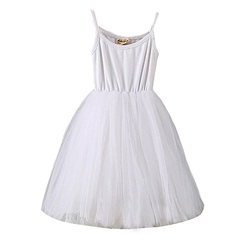 Baby Girls Tutu Dress Sleeveless Infant Toddler Sundress Tulle Bubble 5 Layers White
