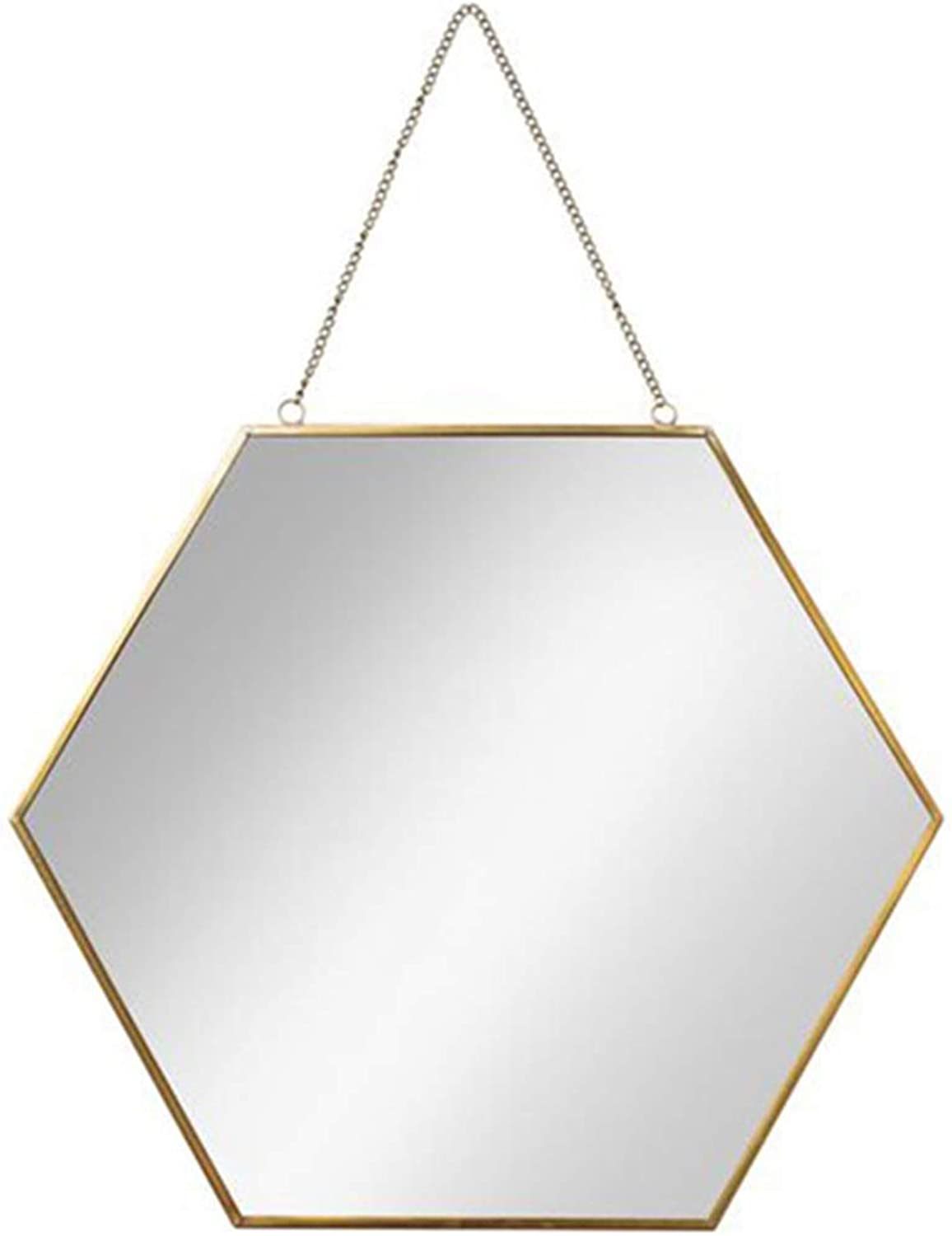 Bathroom Hexagon Mirror Brass Frame Wall-Mounted Metal Mirrors Living Room Decorated Mural Mirror Wall Hanging Modern Design 1 1 Decorative Mirror Holder (Size   Diameter 40cm)