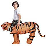 GOOSH Child Size Unisex Tiger Ride-on Inflatable Costume, Indoor Outdoor Funny Halloween Costume,Perfect for Halloween Costume Party. (72 INCH height) (72 INCH height, yellow)